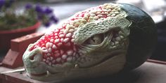 Sculptor Valeriano Fatica this incredibly detailed #dragon head was expertly carved into a watermelon. #sculpture