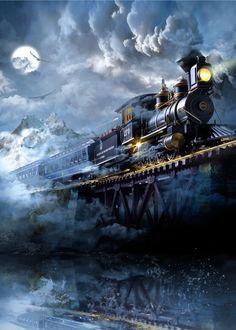 Jon Paul art - Midnight Train