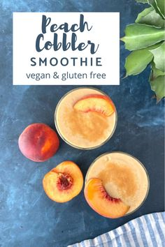 this #vegan #glutenfree Peach Smoothie celebrates juicy summer peaches OR frozen in a distinctive breakfast or snack that tastes like a fruity cobbler dessert! this peach smoothie is nutrient rich and naturally sweetened. Dairy Free Recipes, Vegan Gluten Free, Keto Recipes, Dessert Recipes, Delicious Vegan Recipes, Meatless Recipes, Quick And Easy Breakfast, Smoothie Recipes, Vegan Smoothies