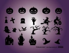 Elementos de Halloween. calabazas, cementerio, bruja, castillo, bruja. Vector Gratis