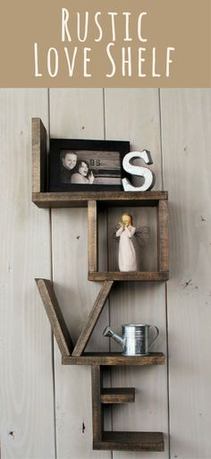This wooden shelf is the perfect statement piece to add to any room. Rustic love shelf - handmade shelf - wood shelf - rustic home decor - rustic decor - rustic shelf - nursery decor - country decor - farmhouse decor - living room decor - gift idea #ad