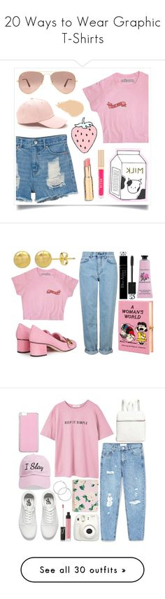 """""""20 Ways to Wear Graphic T-Shirts"""" by polyvore-editorial ❤ liked on Polyvore featuring graphictshirt, waystowear, Monki, Ray-Ban, NARS Cosmetics, Stila, RaCaNoKi, Gucci, Topshop and Olympia Le-Tan"""
