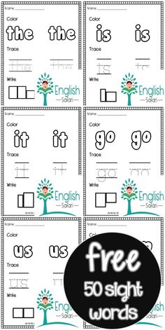 FREE 50 sight words Pack. Color, trace and write the sight words. Sight Word Worksheets, Sight Word Games, Kindergarten Worksheets, Sight Words, Word Board, 50 Words, High Frequency Words, Word Free, Free Printable Worksheets