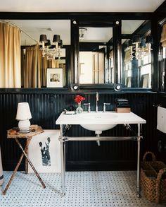 Black eclectic bathroom