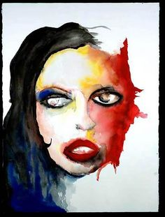 Rose McGowan, portrait by Marilyn Manson (watercolor)  This has always been a favorite of mine