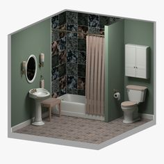 obj bathroom sink Blender 3D Model