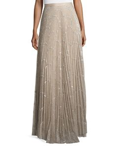 Teresa Metallic Plissé Maxi Skirt, Silver Blush