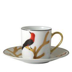 Tasse cafe soucoupe Aux oiseaux Bernardaud limoges