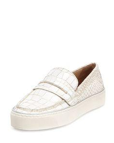 Lounge Crocodile-Embossed Loafer Sneaker, Ivory, Women's, Size: 40.5B/10.5B - Stuart Weitzman