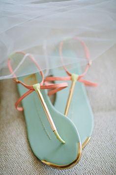 mint and peach cutest flat wedding shoes / http://www.himisspuff.com/peach-mint-wedding-color-ideas/9/