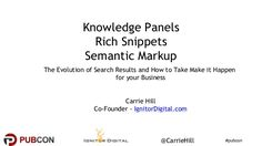 #pubcon@CarrieHill Knowledge Panels Rich Snippets Semantic Markup The Evolution of Search Results and How to Take Make it - Pubcon Las Vegas 2016 Conference Presentation