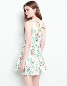 OPEN BACK FLORAL DRESS - WATER GREEN