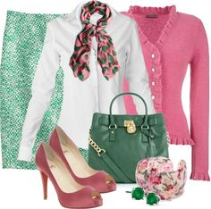 """Pink n' Green"" by stylesbyjoey on Polyvore"