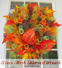 Beautiful Deco Mesh Harvest Wreath. Such pretty colors! And easy to DIY. CraftsnCoffee.com.