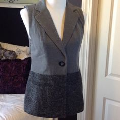 Two Tone Grey CABI Vest Single button vest in charcoal grey and black tweed look fabric. Super cute.  Note - most CABI brand runs a size to two sizes smaller. I am a size 8-10 and wear a 6 or medium in most everything. CAbi Jackets & Coats Vests