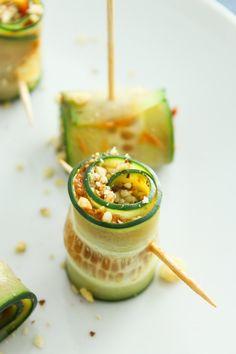 Vegan Cucumber Pinwheels with Sun Dried Tomato Pesto