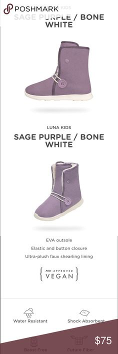 Native shoes Luna boot purple and white Celestial Bestie.  FEATURES Defender Repellent Systems with Scotchgard™ EVA outsole Elastic and button closure Ultra-plush faux shearling lining NATIVE YOUTH Shoes Boots