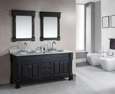Design House Bathroom Vanities Elegant Design Element Marcos Double Sink Vanity Set with Carrara White Marble Countertop In Espresso 72 Double Sink Vanity, Vanity Sink, Vanity Cabinet, Double Sinks, Bathroom Vanity Decor, Bathroom Ideas, Bathroom Cabinets, Grey Cabinets, Bathroom Designs