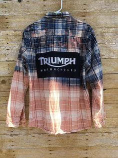 1414cb92b5 Upcycled Flannel Shirt Embellished With Recycled Shirt Back Art