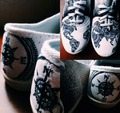 Shoes with Sharpie! World, compass, map, continents, sharpie, art. By Taylor Beynon
