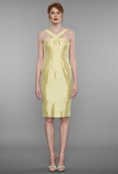 Inspired by and French fashions, this flirty frock features a criss-cross halter, elegant low-cut back, and princess seams. It's perfect with the fitted skirt, available in cocktail and midi length with a back slit. And it has pockets. Yellow Bridesmaid Dresses, Designer Bridesmaid Dresses, Bridesmaid Dresses Online, Wedding Dresses, Dresses For Work, Formal Dresses, Princess Seam, French Fashion, Frocks