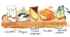 I think I've had a few posts about cheese on here.and here's another for The Simple Things Magazine, illustrating the proper way to do a cheeseboard. Watercolor Food, Watercolor Journal, Watercolor Projects, Collage Illustration, Food Illustrations, Georgina Luck, Simple Things Magazine, Cheese Art, Hungarian Cuisine