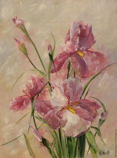 """Купить Картина """"Воздушные ирисы"""" - брусничный, картина, картина в интерьер, картина маслом, картина в подарок"""
