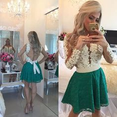 Long Sleeves Lace Pearls Short Homecoming Dresses Deep V Neck Sheer Tulle Short Sexy Party Dresses,407