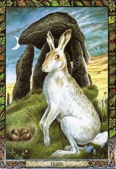 "The Easter Bunny  is actually a hare, the sacred animal of Eostre (or Oestra/Ostara), the ancient Teutonic Goddess of the Spring Moon. At the vernal equinox (March or April) the hares go 'mad' and at this time of year, one of Eostre's hares laid an egg, the Egg of New Life, or the ""Easter"" Egg."