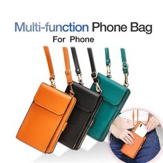For iPhone X/Samsung Magnetic Shoulder Bag Leather Zipper Wallet Flip Cover Case Leather Shoulder Bag, Leather Bag, Iphone, Zipper, Wallet, Casual, Bags, Samsung, Electronics