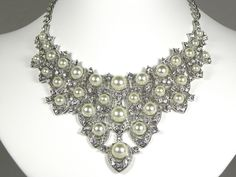 Ivory Pearl Bridal Statement Necklace by WhiteAisleBoutique