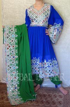 Dark Blue and Green Afghan dress<3