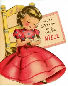 Vintage Norcross Greeting Card Die Cut Girl in Pink Dress Kitten for Niece 3554 Vintage Greeting Cards, Birthday Greeting Cards, Birthday Greetings, Vintage Postcards, Birthday Wishes, Happy Birthday Vintage, Book Illustration, Illustrations, Cat Birthday
