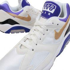 Nike Air Max Summit White, Metallic Gold, and Bright Concord Air Max 180, Metallic Gold, Jordan Shoes, 90s Fashion, Pink Purple, Nike Air Max, Jordans, Bright, Men