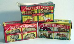 Barnum's Animal Crackers  c. 1963 ~~~ I remember walking down to the grocery store with my grandfather (holding hands) and he would always get me some animal crackers. As I recall, most times, that was all we came back with.                                  ♥ my grandpa ♥