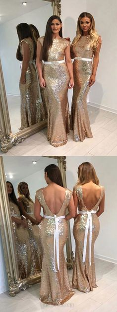 Long Bridesmaid Dresses Sequined, Backless Bridesmaid Dress Mermaid Scoop Neck, Modest Wedding Party Dresses Cheap Online