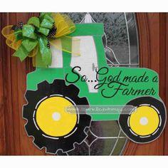 God Made a Farmer Tractor Door Hanger Sign on Etsy, $40.00