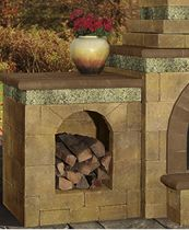 Add a firewood box extension to your outdoor fireplace from Cambridge Pavingstones with Armortec!