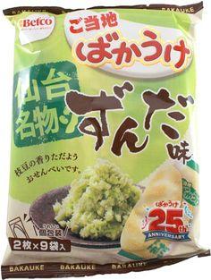 """Edamame """"Zunda"""" Bakauke Rice Crackers $3.00 http://thingsfromjapan.net/edamame-zunda-bakauke-rice-crackers/ #edamame #Japanese rice cracker #Japanese snack"""