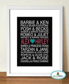 PERSONALISED COUPLES Poster Print  - perfect gift for lovers.