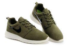 Nike Roshe Run Anti-fur Womens Shoes in Army Green