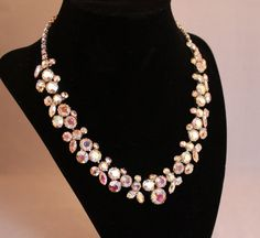 S A L E Vintage Stunning Weiss Signed Necklace Earrings Set - Demi-PARURE (Vintage 1940s, Bridal, Wedding, Royalty) Free Shipping, Gift Boxe by JaguarIsle, $180.00