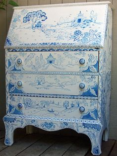 my hand painted blue and white desk