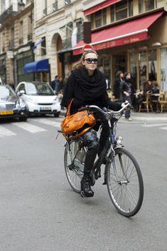 City biking in boots. | shared by velojoy.com
