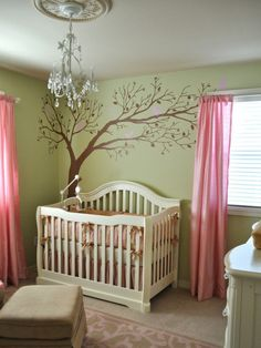 Baby Room: Big Tree Wall Decal Paired With Chandelier Plus Pink Window Curtains Also Green Baby Nursery Wall Paint: Creating Calm Baby Room Nuance with Nice Green Nursery Baby Bedroom, Nursery Room, Girl Nursery, Girls Bedroom, Nursery Decor, Nursery Ideas, Room Baby, Babyroom Ideas, Bedrooms