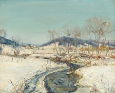 """""""Creek in Snow,"""" Walter Emerson Baum, oil on canvasboard, 16 x 20"""", private collection."""