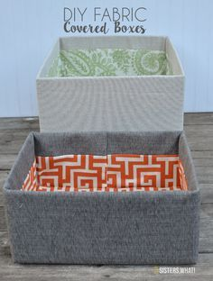 these DIY fabric covered boxes were made out of cardboard boxes<br> These DIY fabric covered boxes were made out of cardboard boxes. A great way to make your own inexpensive storage bins. Cardboard Box Storage, Fabric Storage Boxes, Fabric Boxes, Cardboard Crafts, Storage Bins, Fabric Basket, Cardboard Playhouse, Cardboard Furniture, Diy Karton