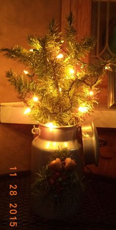 Rustic Christmas Décor, Vintage Milk Can, Faux / Fake Christmas Tree pieces , berries, acorns and lights.~ Holidays, Christmas, Primitive, DIY, Nailed It ✨