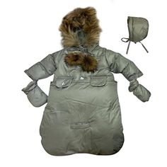 BEBEBON Baby Winter Bunting Snowsuit Fur Hoodie Silver Gray Newborn to Few Months >>> Click image to review more details.