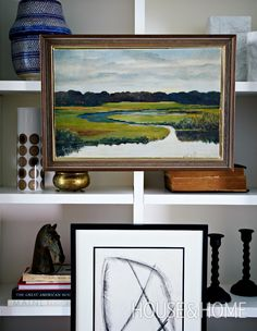 Framed art adds personality to a shelfscape and gives the eye a place to rest. | Photographer: Michael Graydon | Designer: Stacey Smithers, Sarah Hartill